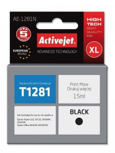 Tusz Activejet do Epson T1281 - Czarny (15 ml)