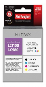 Tusz ActiveJet zamiennik do Brother LC980/LC1100 (AB-M1100R) - Komplet CMYK (33 ml)