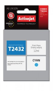 Tusz Activejet do Epson T2432 - Cyan (12 ml)
