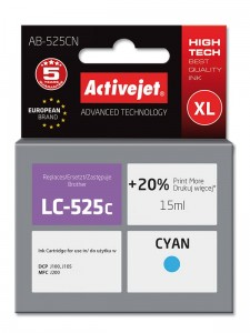 Tusz ActiveJet do Brother LC525C - Cyan (15 ml)