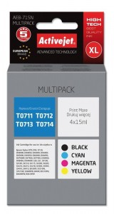 Tusze ActiveJet Supreme do Epson T0715 (T0711, T0712, T0713, T0714) - Multipack 4 szt.