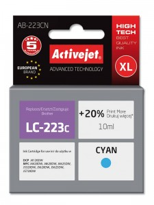 Tusz ActiveJet do Brother LC223C - Cyan (10 ml)