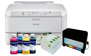 Epson WorkForce Pro WF-5110DW + System CISS + Tusz InkTec Pigment 4x200 ml.