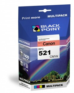 Komplet tuszy Black Point do Canon CLI-521 - Multipak (CMYK) 7420 stron