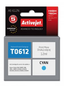 Tusz Activejet zamiennik do Epson T0612 Cyan 12 ml.