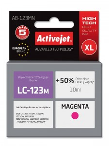 Tusz Activejet zamiennik do Brother LC123M - Magenta (10 ml)