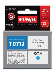 Tusz Activejet do Epson T0712 - Cyan (15 ml)