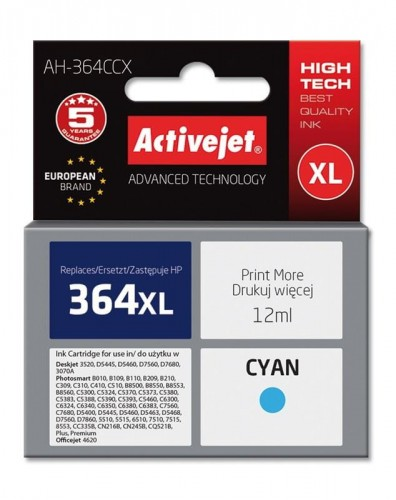 Tusz Activejet AH-364CCX (do drukarki Hewlett Packard, zamiennik HP 364XL CB323EE premium 12ml cyan Chip)