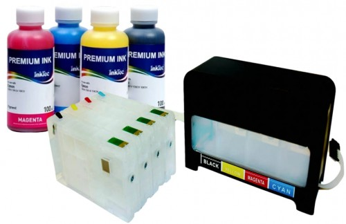 System CISS Epson T7911 - T7914 + Tusze InkTec Pigment 4x200 ml.